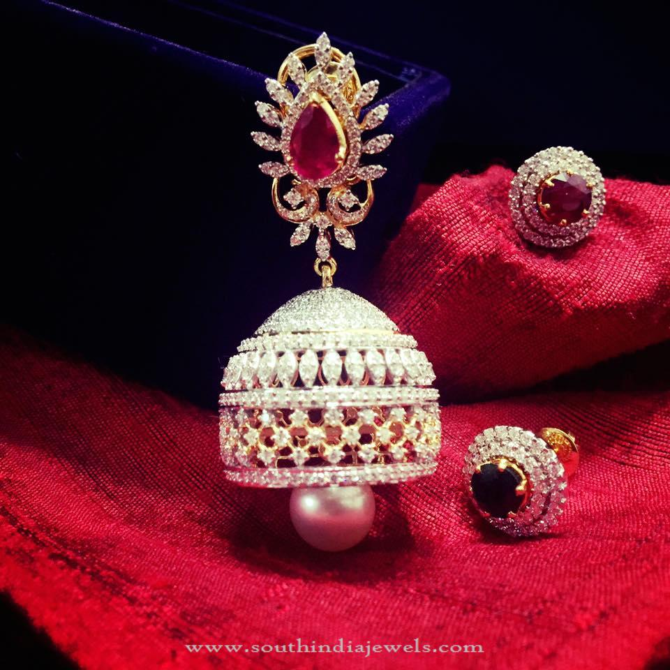 diamond index floral studded dsc gold pearls jhumkas jhumka polki