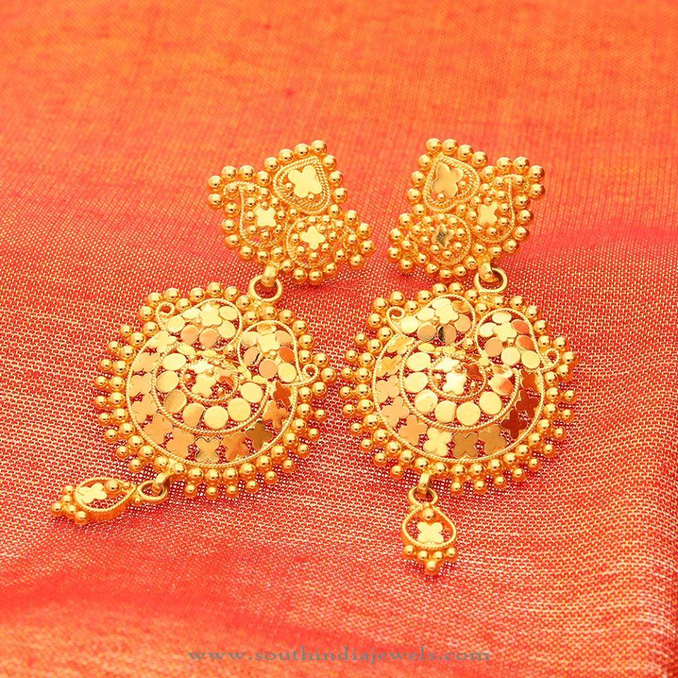 Classic Gold Earrings from Manubhai ~ South India Jewels