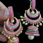 Designer Ruby Emerald Jhumka from Vanathi