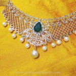 Diamond Necklace with Emeralds and Pearls