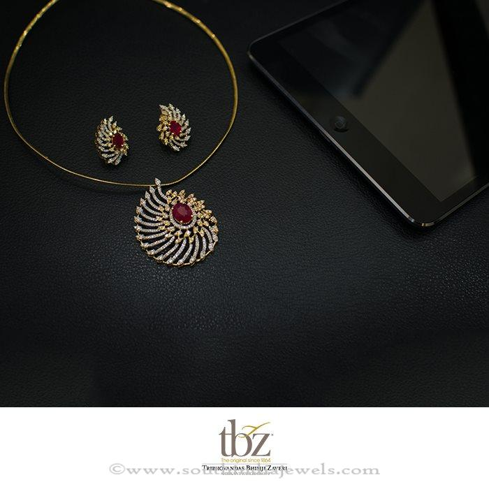 Diamond Ruby Pendant Set from TBZ