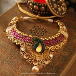 Gold Necklace with Pink Stones