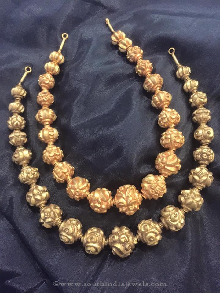 Gold Antique Ball Necklace South India Jewels