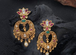 Gold Antique Chandbali Earrings from Creations Jewellery