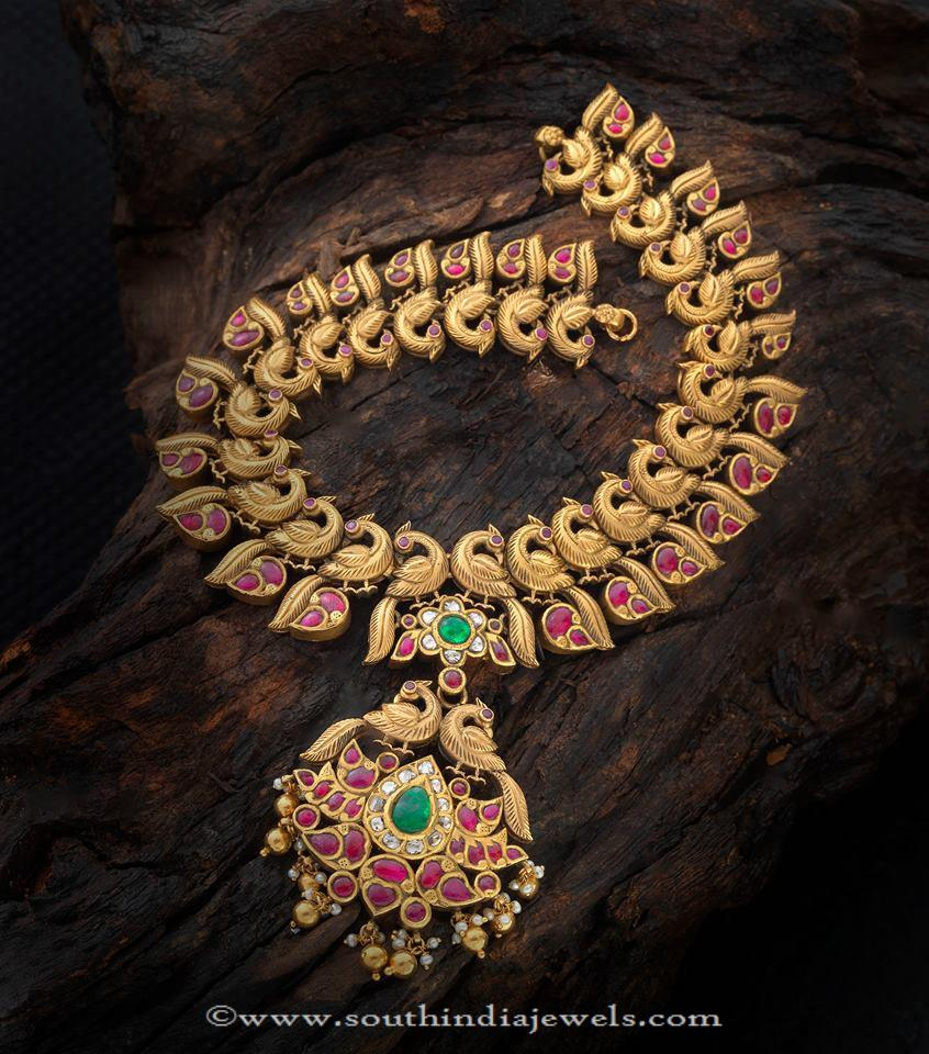 Gold Antique Ruby Peacocok Necklace