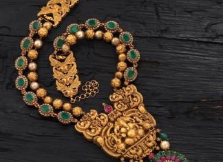 Gold Antique Emerald Temple Necklace