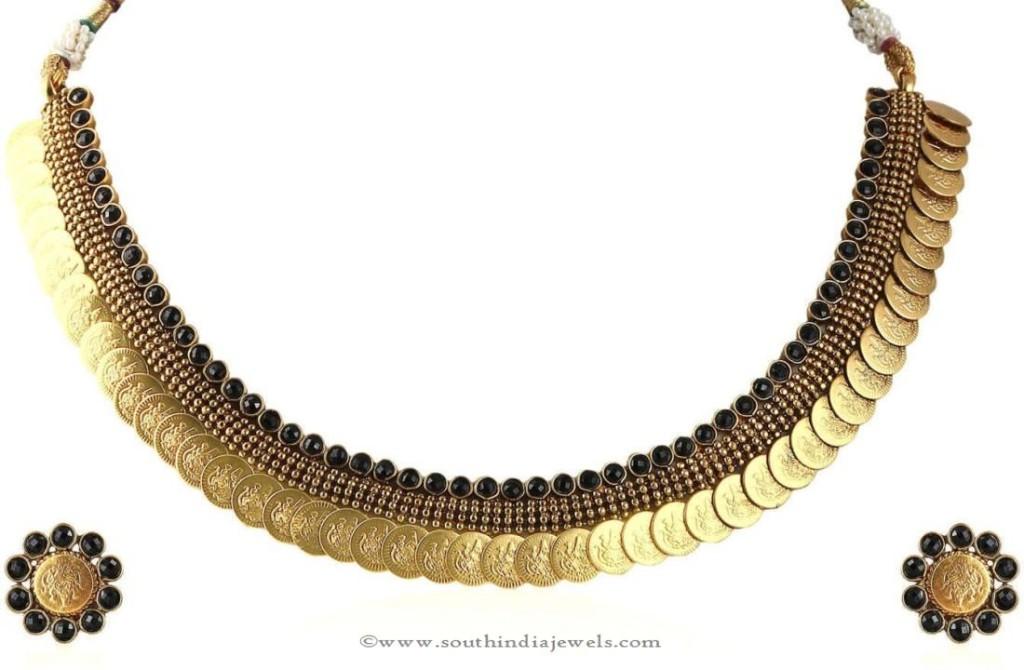 Gold Plated Black Kasumalai Necklace Set