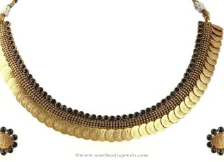 Gold Plated Black Kasumalai Necklace Set