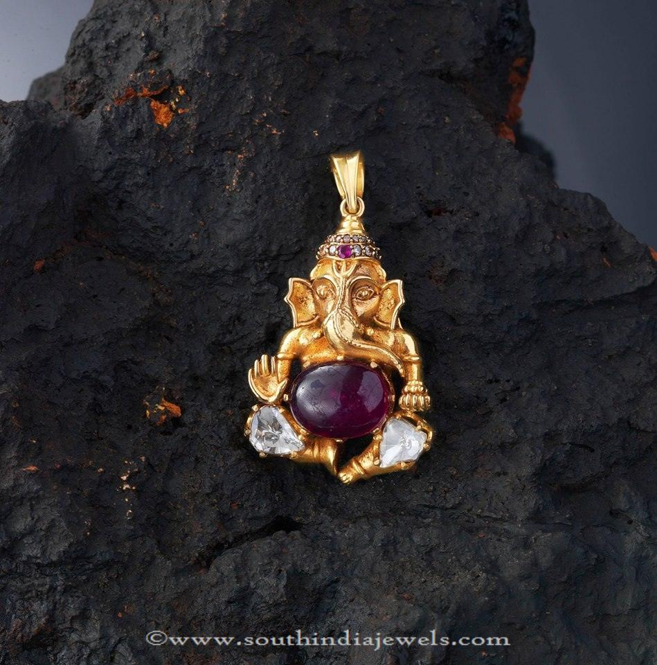 Gold ganesh pendant from creations jewellery south india jewels gold ganesh pendant from creations jewellery aloadofball Image collections