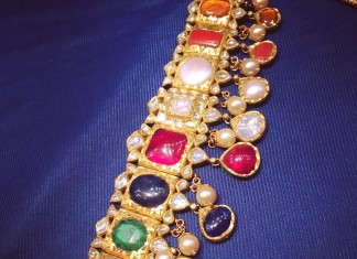 Gold Navarathan Choker Necklace