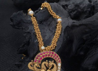 Gold Long Necklace with Peacock Pendant