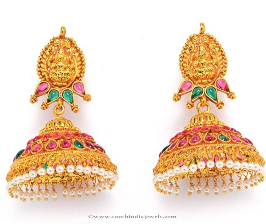One Gram Gold Hoop Jhumka Earrings ~ South India Jewels