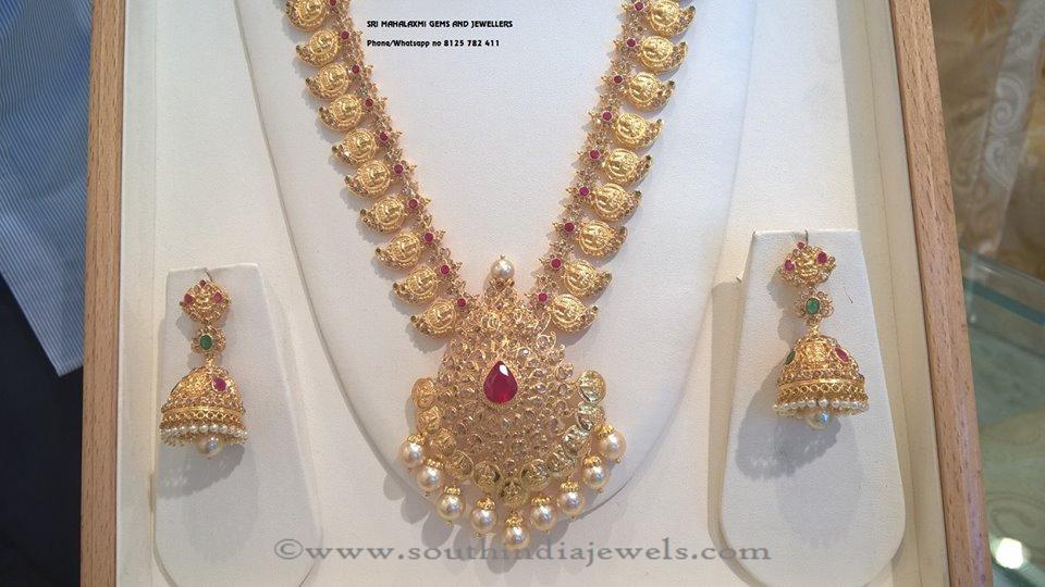 Gold White Stone Necklace Design