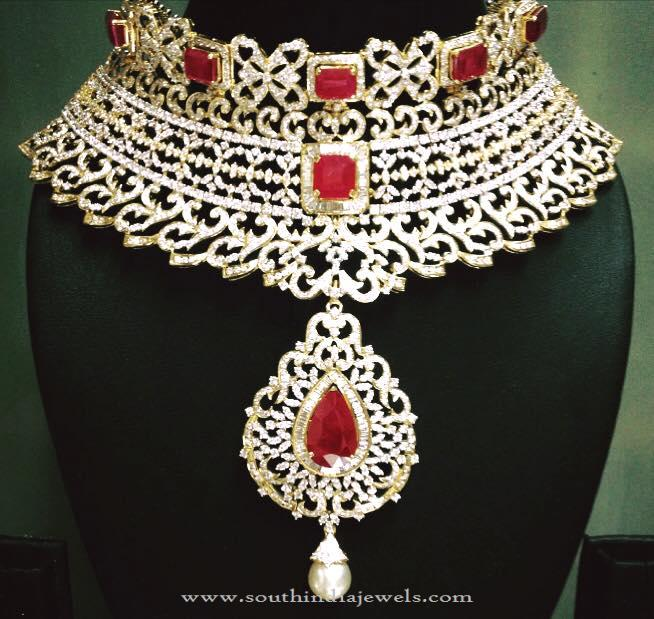 Heavy Bridal Driamond Necklace South India Jewels