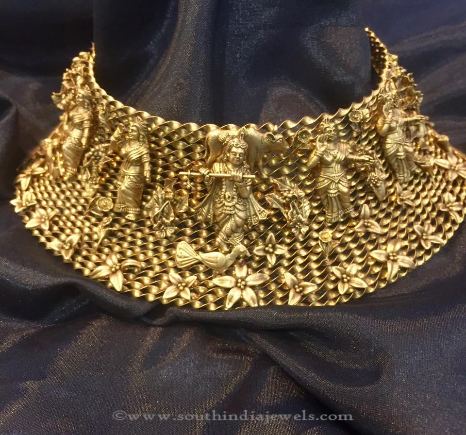 gold necklace plated long big rani set proddetail haar ap