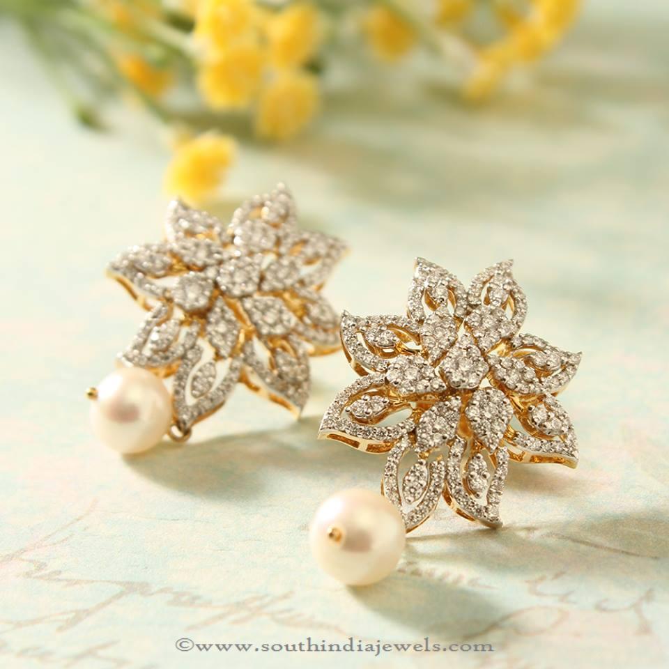 Manubhai Jewellers Diamond Ear Studs South India Jewels