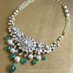 Pearl and White Stone Necklace set from Manubhai
