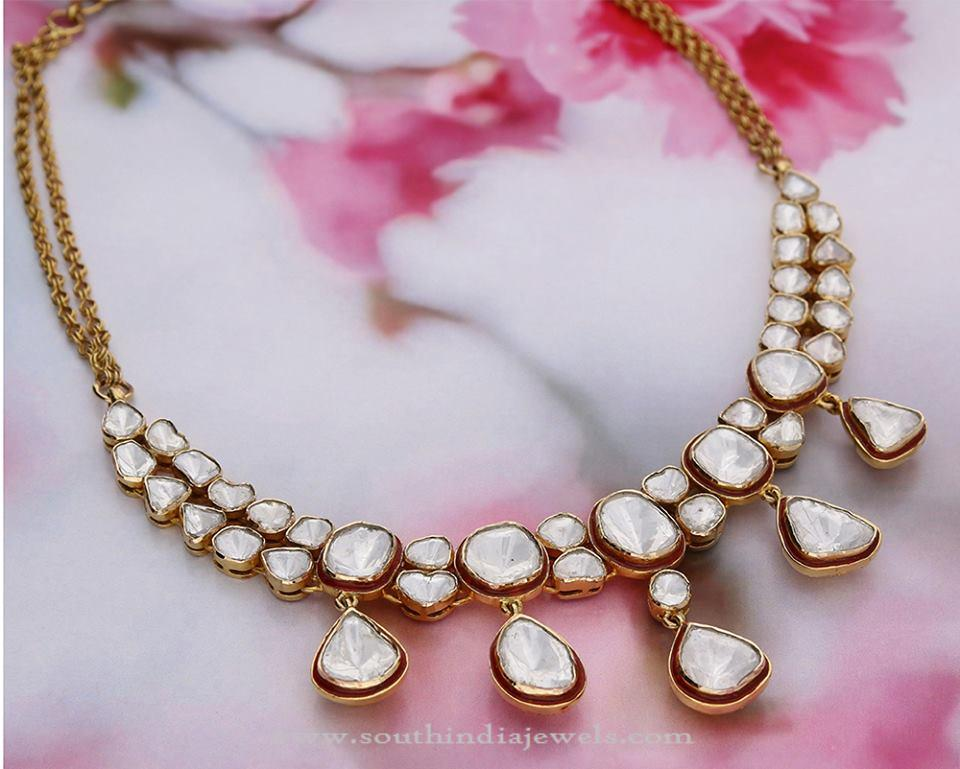 Gold White Stone Necklace From Manubhai ~ South India Jewels