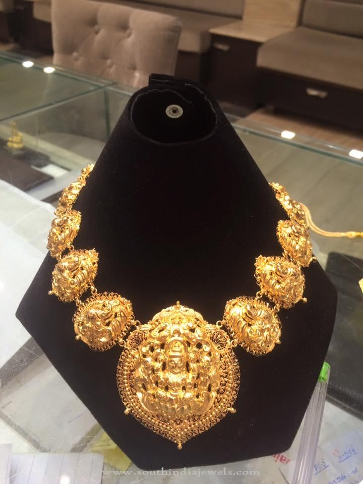 Gold Temple Lakshm Necklace with Weight Details