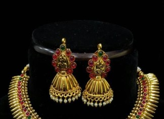Temple Lakshmi Necklace with Jhumka