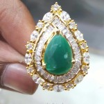 1 gm Gold Emerald Statement Ring