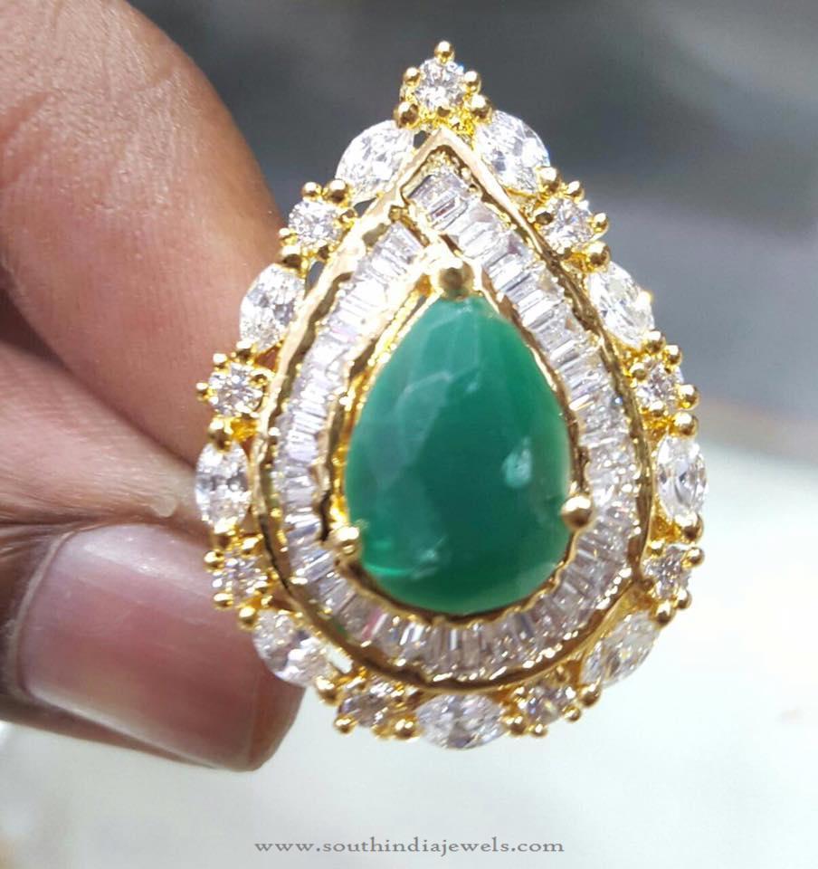 1 gm Gold Emerald Statement Ring