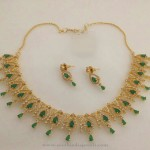 1 Gm gold Plated Green Stone Necklace with Price