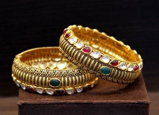 22K Gold Kundan Bangles From TBZ