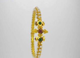 22K Gold Pearl Bangle From Karpagam Jewellers