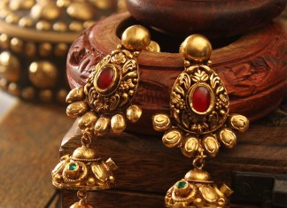 Antique Gold Earrings with South Sea Pearls