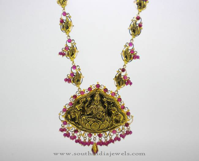 Antique Gold Lakshmi Haram from Karpagam Jewellers