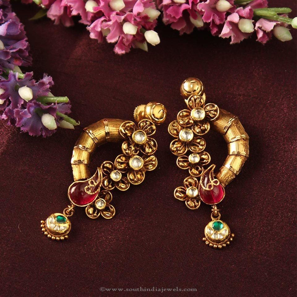 punjabi stud traditional jewellery antique products earrings by firozi gold