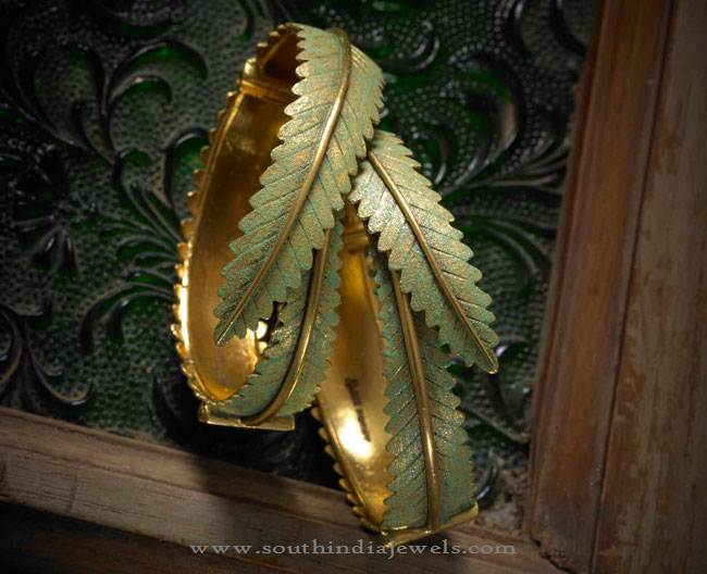 Gold Designer Leaf Bangle