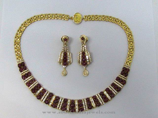 Diamond Necklace with Garnets