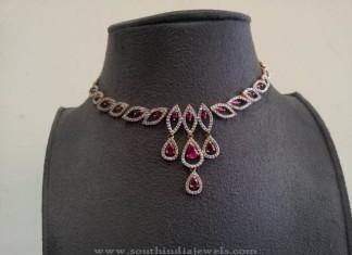 Gold CZ Stone Ruby Choker from Prakruthi