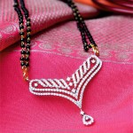 Gold Black Bead Diamond Mangalsutra