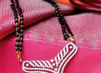 Gold Black Bead Diamond Mangalsutra