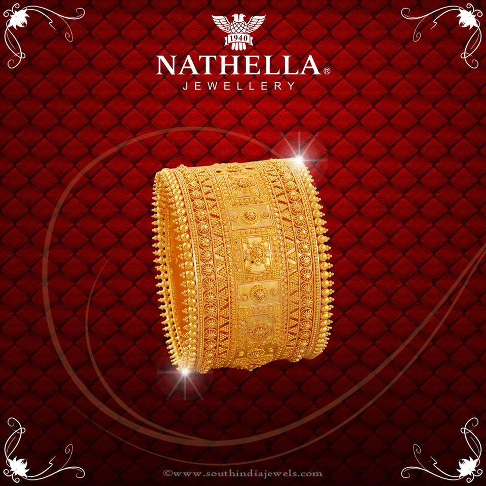 Gold Broad Bridal Jewellery Bangle from Nathella