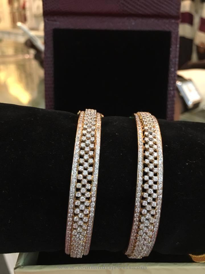 Broad Gold Diamond Bangle from Bhavani Jewellers
