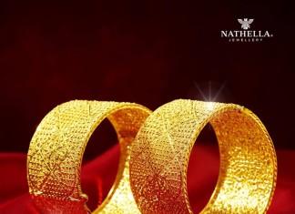 Gold Broad Bangle Set from Nathella Jewellery