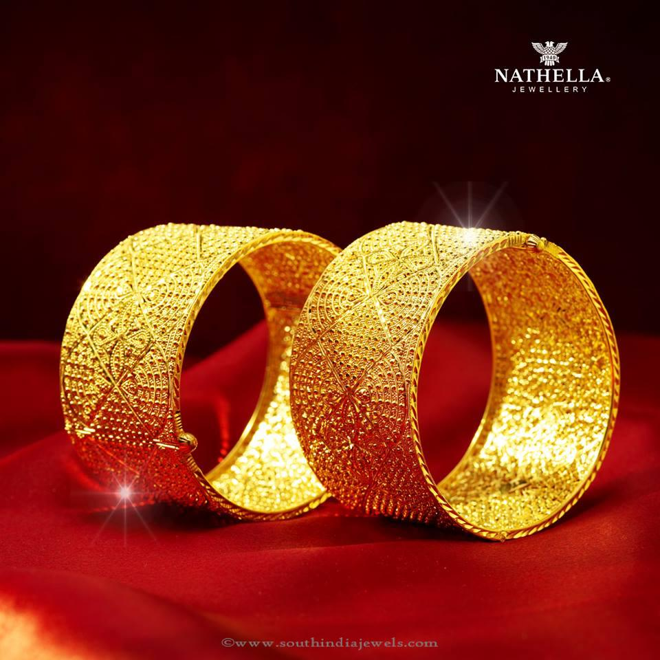 Gold Broad Bangle Set from Nathella Jewellery