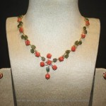 Gold Coral Jade Necklace Set
