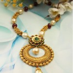 Gold Designer Pearl Ruby Necklace From Manubhai