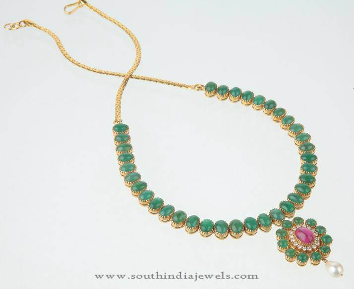 Gold Emerald Attigai Necklace