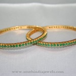 Gold Bangle with Green Stones