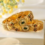 Gold Kada with Colorful Stones