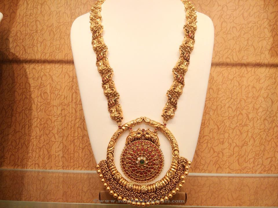 Gold Antique Long Haar with Peacock Pendant