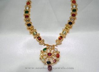 22 Carat Gold Antique Navarathan Necklace