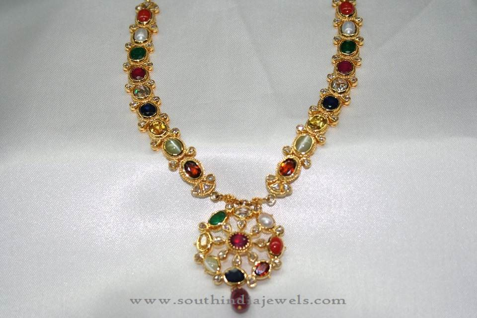 22 Carat Gold Antique Navarathan Necklace