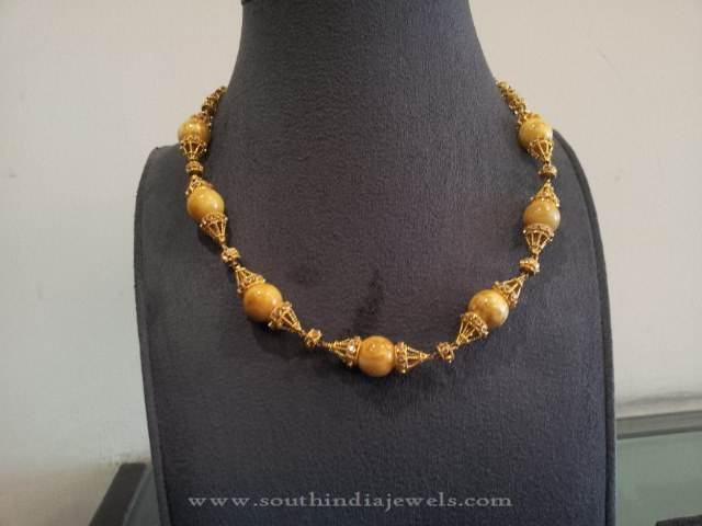 Gold Necklace with Amber Beads